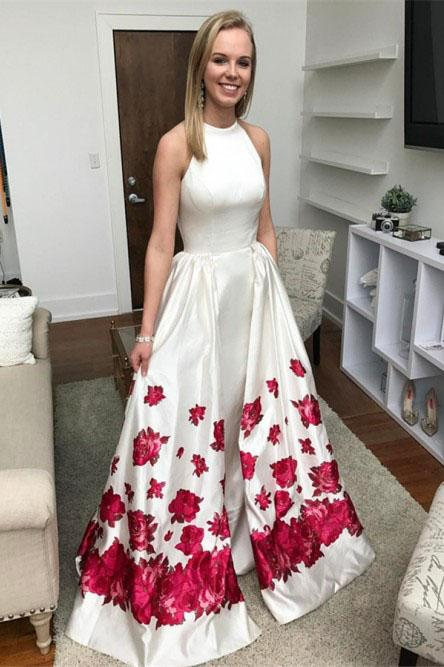 Mermaid Sleeveless Long White Printed Detachable Prom Dress PFP1371