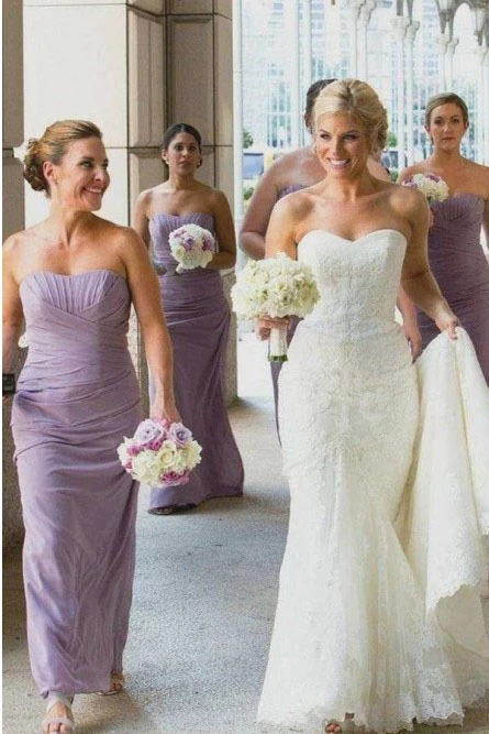 Sheath Sweetheart Floor-Length Lilac Ruched Chiffon Bridesmaid Dress PFB0152