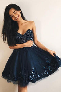 Cheap A-Line Sweetheart Navy Blue Tulle Short Homecoming Dress with Beading