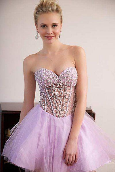 Cute A Line Sweetheart Tulle Pink Beading Homecoming Dresses