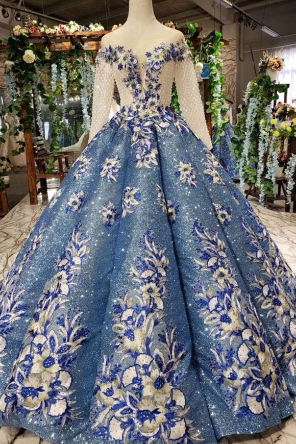 Scoop Long Sleeves Lace Up Back Blue Appliques Prom Dresses PFP1384