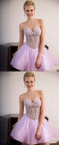 Cute A Line Sweetheart Tulle Pink Beading Homecoming Dresses PFH0121