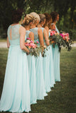 New Arrival A-Line V-Neck Floor-Length Mint Open Back Chiffon Bridesmaid Dress with Lace PFB0024