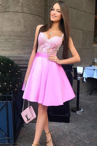 A-Line Spaghetti Straps Pink Satin Homecoming Dress with Appliques,Cheap Short Prom Dress
