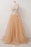 Promfast A-Line Round Neck Tulle Long Prom Dress with Lace Appliques PFP1908