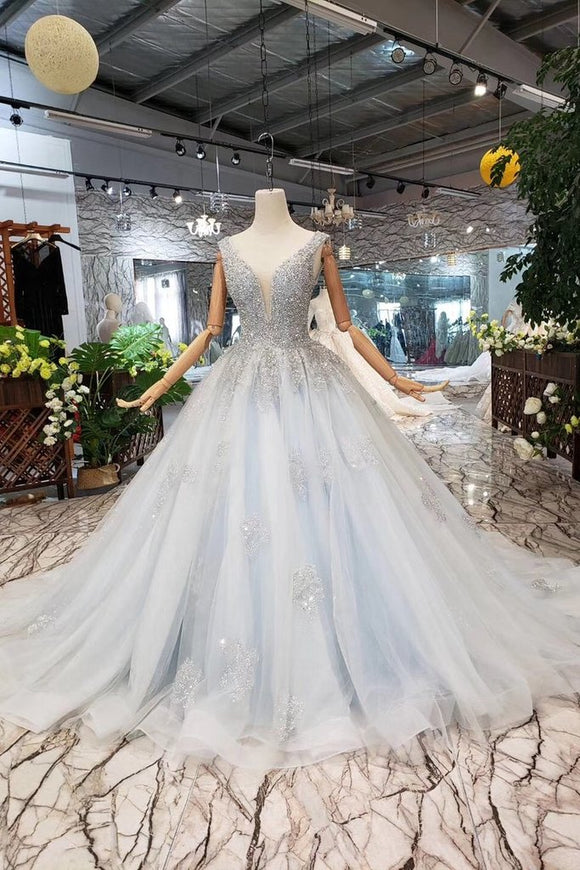 New Arrival Wedding Dresses V Neck Lace Up Back Beads Prom Dress Tulle PFP1390