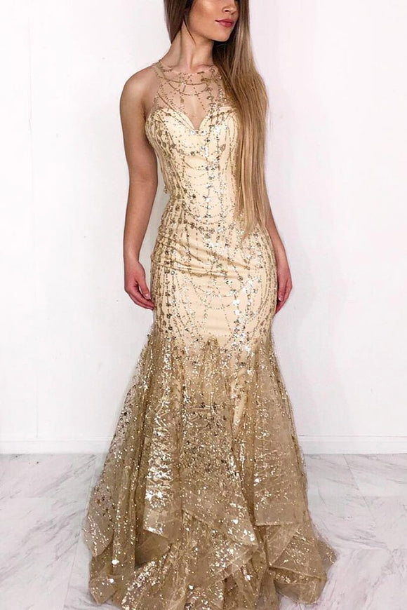 Sexy Mermaid Illusion Neck Ruffles Gold Long Prom Dress PFP1392
