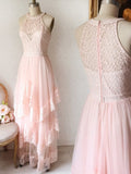Princess Pink Lace Long Prom Dress Bridesmaid Dresses PFP1403