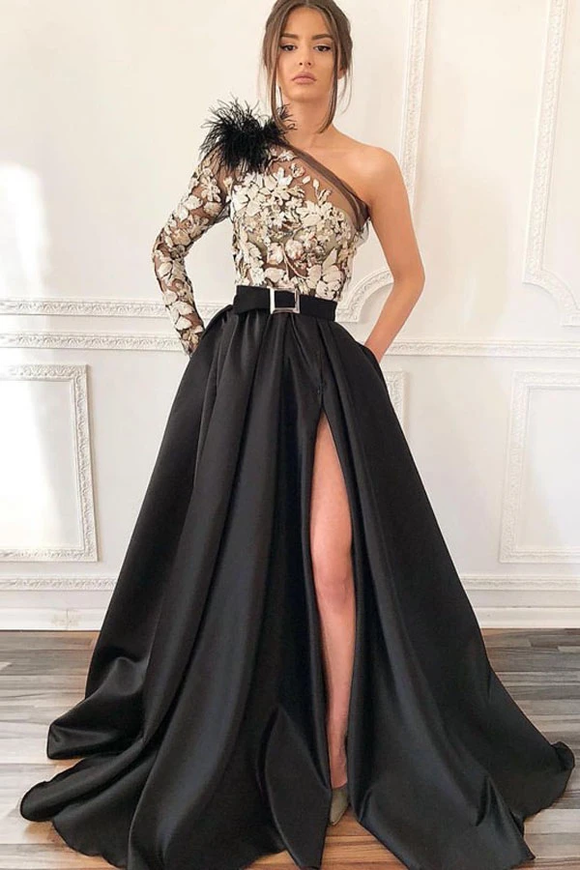 Promfast One-Shoulder Black Long Appliqued Split Prom Dress With Pockets Feathers PFP1910