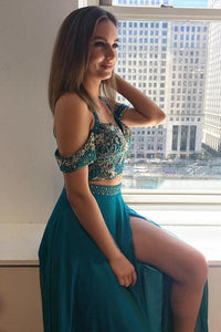 Two Piece Turquoise Cold Sleeves Split Long Beading Prom Dress PFP1411