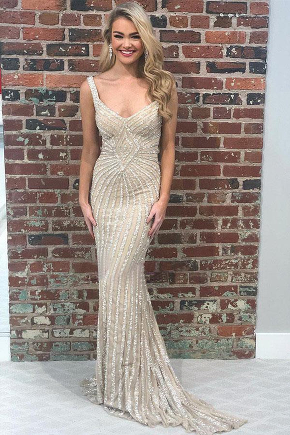 Sexy Mermaid Beading Long Prom Dress with Criss Back PFP1415
