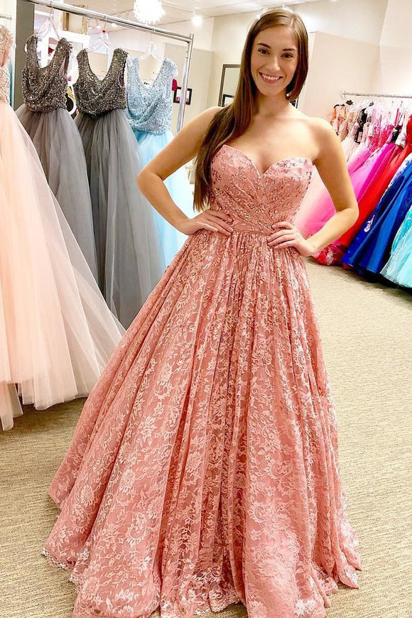 Pink Lace Long A Line Sweetheart Prom Dresses PFP1417
