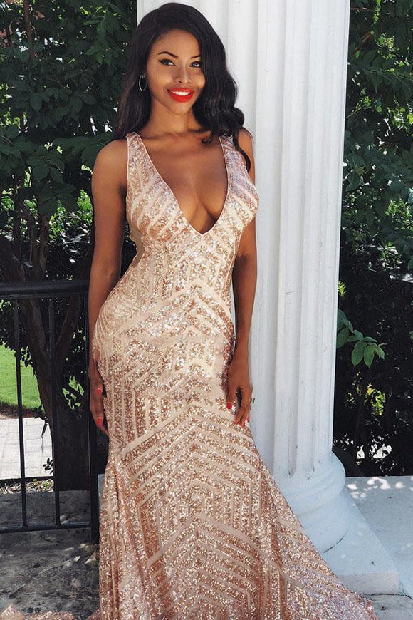 Charming Mermaid Backless Sequins Rose Gold Long Prom Dress PFP1424
