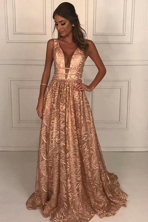 A-Line Deep V-Neck Floor-Length Lace Prom Dress with Beading PFP1427