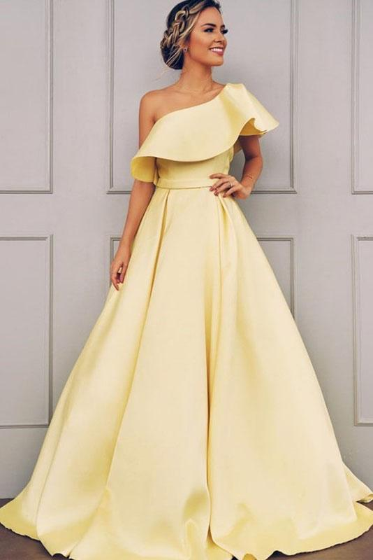 A Line One Shoulder Satin Yellow Simple Prom Dress With Ruched PFP1428