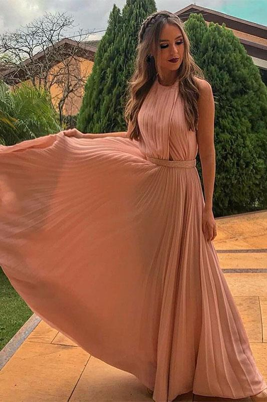 A-Line Long Floor-Length Blush Pleated Chiffon Prom Dress with Beading PFP1429