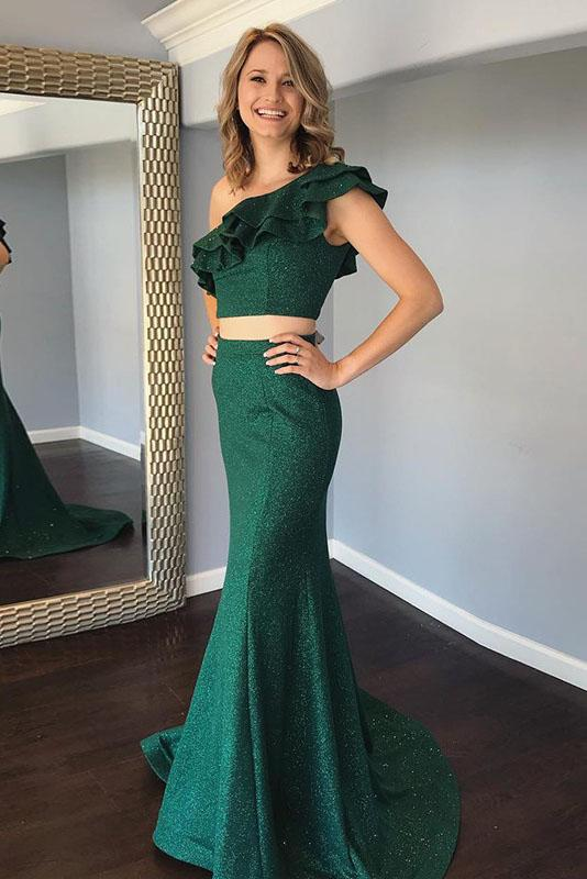Cheap Two Pieces Mermaid One Shoulde Green Prom Dress With Ruffles PFP1430