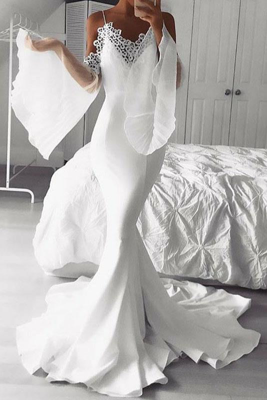 Mermaid Cold Shoulder Flare Sleeves White Prom Dress with Lace PFP1431