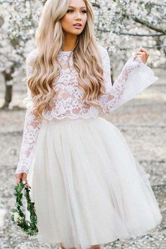 Off White Tulle Long Sleeve Lace Two Pieces Short Cheap Homecoming Dresses PFH0018