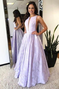 A-Line Floor-Length Lilac Printed Prom Dress, Simple Long Evening Dresses