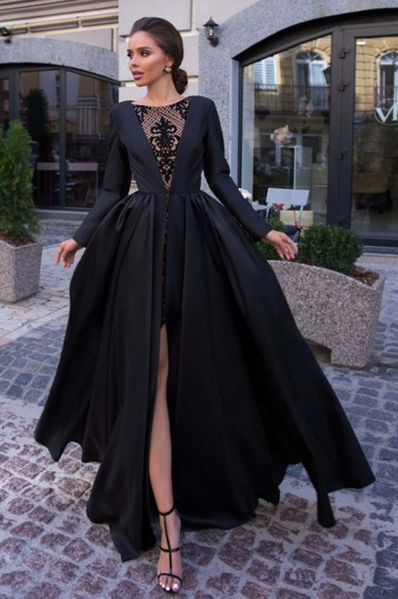 A-Line Round Neck Long Sleeves Black Long Prom Dress PFP1438