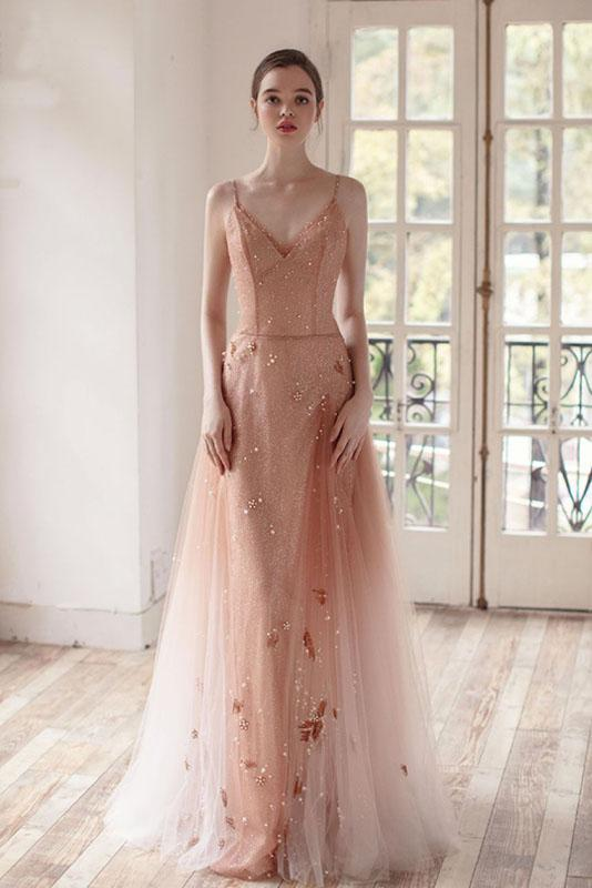 Ombre A Line Long Tulle Spaghetti Straps Prom Dresses With Beads PFP1439