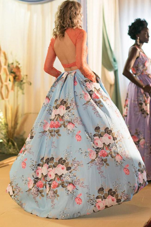 Two Pieces Long Sleeves Prom Dresses, Floral Print Prom Gown With Pockets PFP1456