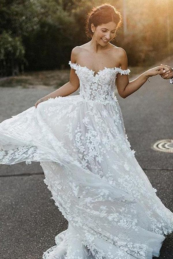 A-Line Off-the-Shoulder Boho Wedding Dress with Appliques PFW0328