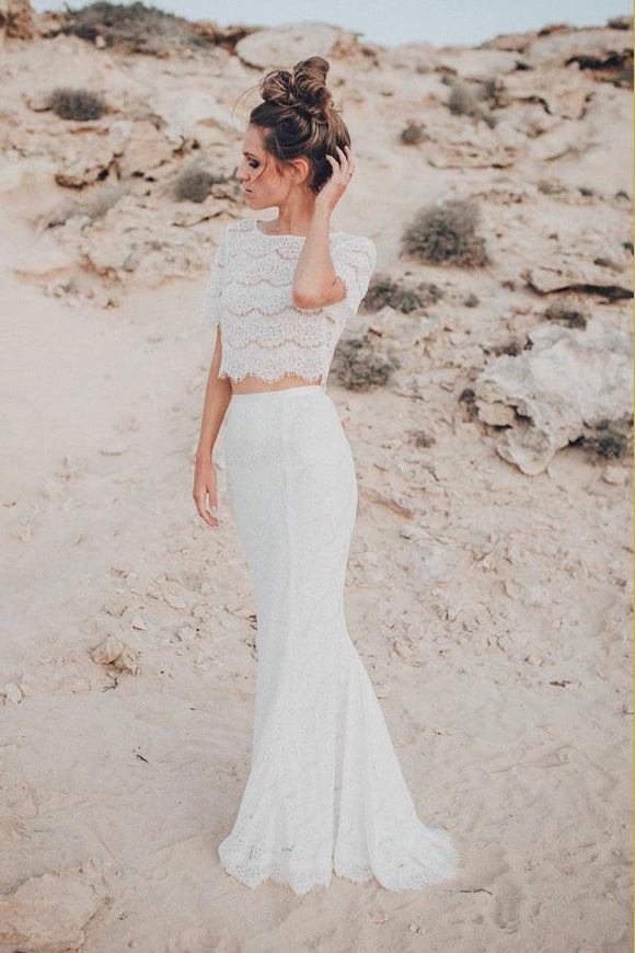 Two Piece Crew Short Sleeves White Lace Mermaid Wedding Dress PFW0332