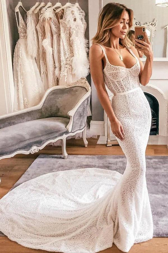 Mermaid Spaghetti Straps Lace Wedding Dress Bridal Gown PFW0334