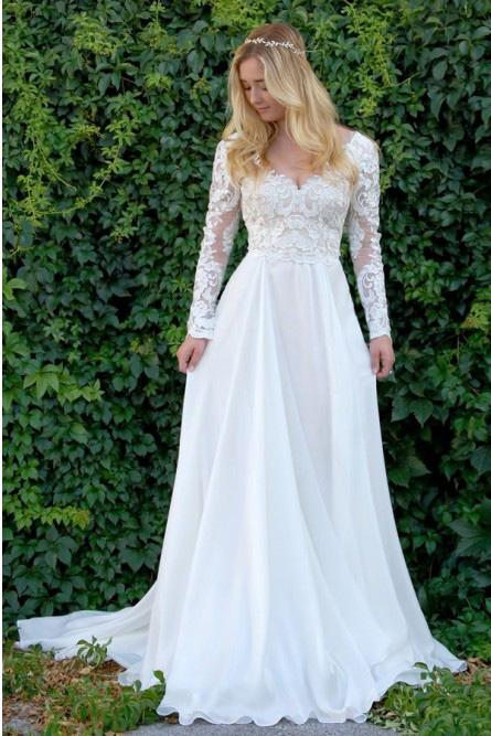 A-Line V-Neck Long Sleeves Wedding Dress with Lace Appliques PFW0336