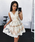 Off White Lace Short Prom Dress, Cute A Line Homecoming Dresses PFH0023
