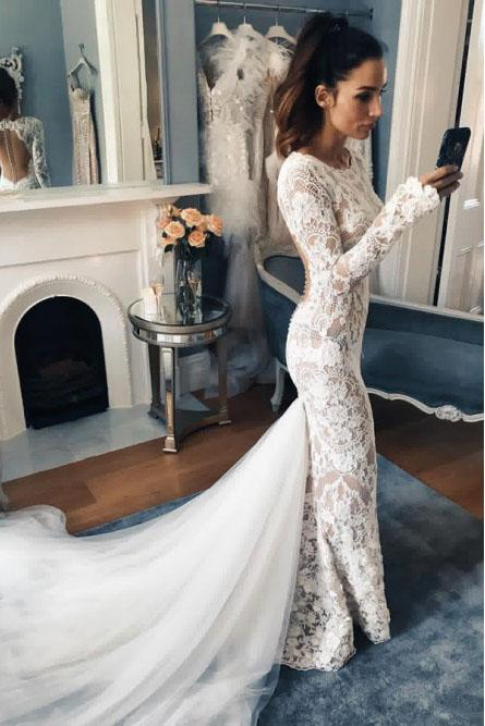 Mermaid Crew Long Sleeves Illusion Back Lace Wedding Dress PFW0342