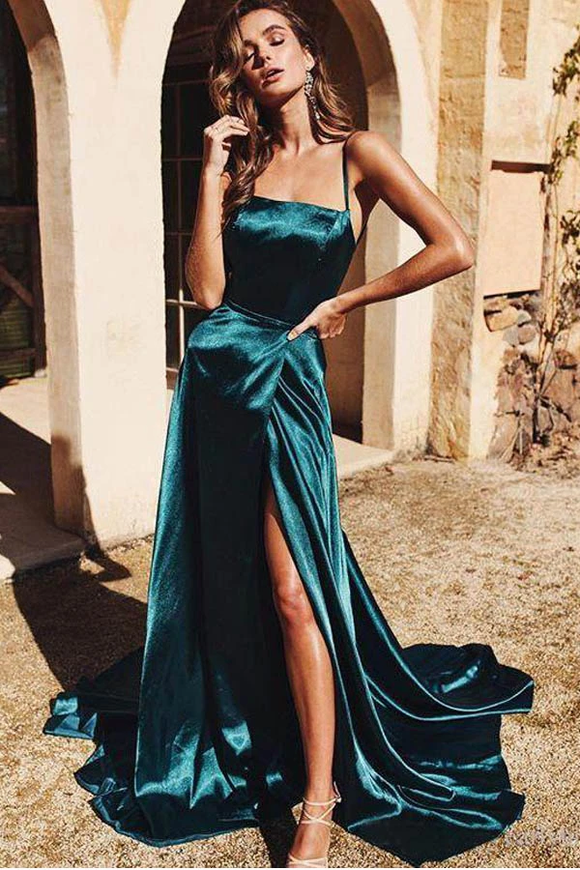 Promfast A-Line Spaghetti Straps Long Prom Dresses Cheap Formal Gowns PFP1914