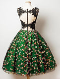 A-Line V-Neck Sleeveless Green Tulle Flower Lace Homecoming Dress PFH0024