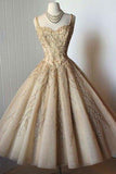 Elegant A-Line Straps Sweetheart Tea-Length Sleeveless Homecoming Dresses PFH0025