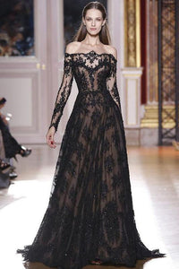 Romantic Long Sleeves Off the Shoulder Lace Appliques A Line Black Prom Dresses PFP0014