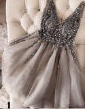 Luxurious Sequins Beaded V-neck Tulle Short Gray Homecoming Dresses PFH0003