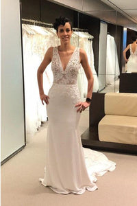 Mermaid V-Neck Backless Court Train Ivory Wedding Dress with Lace PFW0347