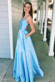 A-Line V-Neck Light Blue Spaghetti Straps Prom Dress with Pockets PFP0532