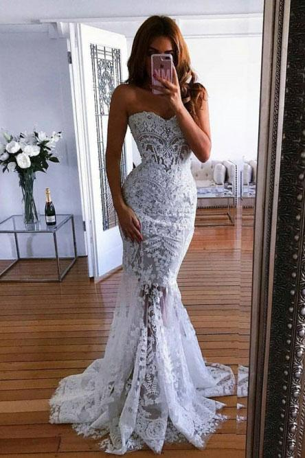 Charming Mermaid Sweetheart Sweep Train Lace Wedding Dress with Appliques PFW0353