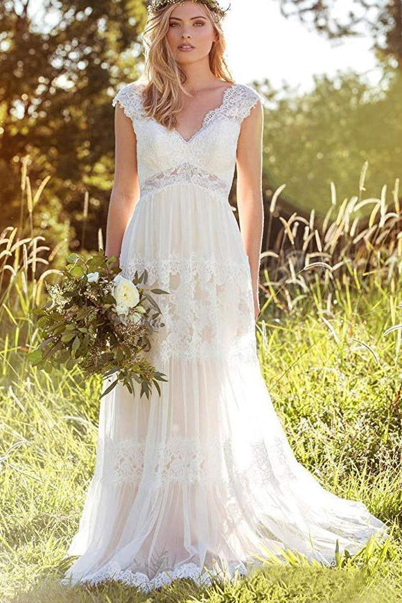 Bohemian A Line V Neck Lace Bridal Gown Simple Beach Wedding Dresses PFW0357