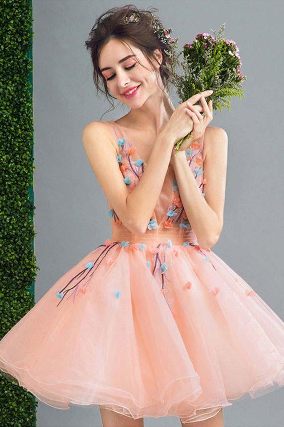 Peach Short A Line Lace Up Back Homecoming Dress With Flowers PFH0028