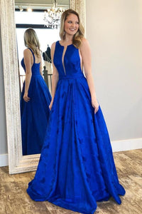 Charming A-Line Crew Floor-Length Royal Blue Printed Satin Prom Dresses