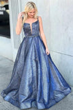 A-Line Square Criss-Cross Straps Blue Satin Prom Dress with Beading PFP0046