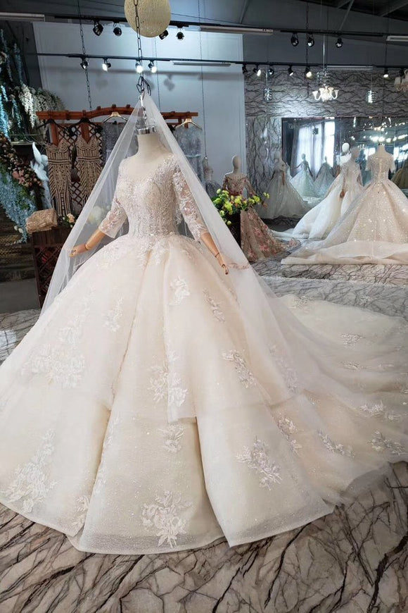 Elegant Scoop Ball Gown Wedding Dresses, 3/4 Sleeves Wedding Gown PFW0363