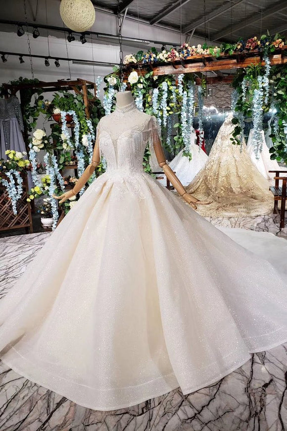 Off White High Neck Ball Gown Wedding Dresses, Open Back Beaded Wedding Gown PFW0364