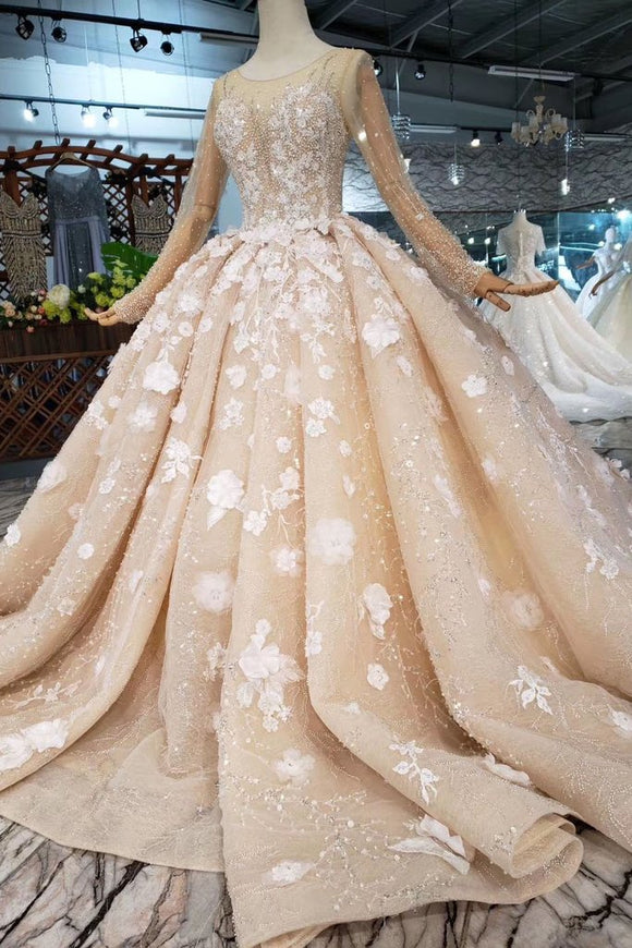 Princess Long Sleeves Ball Gown Wedding Dresses, Floral Appliques Wedding Gown PFW0365