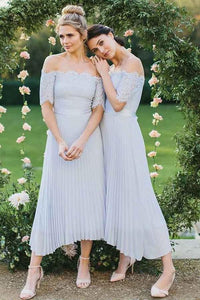 A-Line Off-the-Shoulder Short Sleeve Pleated Chiffon Bridesmaid Dress with Lace PFB0101