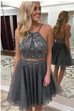 Grey Two Piece Backless Homecoming Dresses,Beaded Short Prom Dress